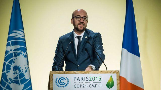 Le Premier ministre belge Charles Michel lors de son discours lundi au Bourget. [Christophe Petit Tesson - EPA/Keystone]
