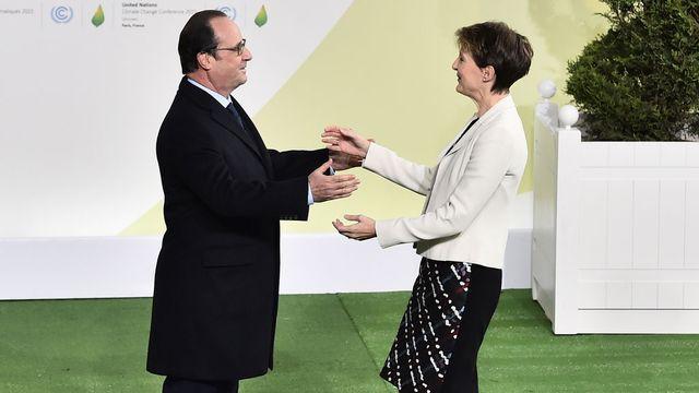 Simonetta Sommaruga était à Paris pour l'ouverture de la conférence lundi 30.11.2015. [Loüc Venance - Pool/AP/Keystone]