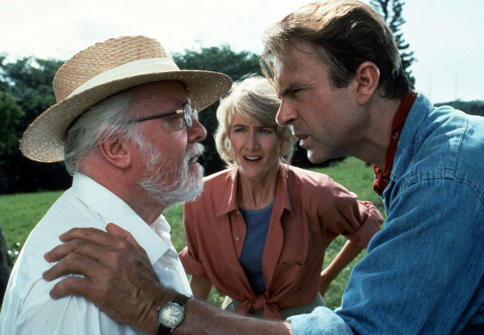 "Richard Attenborough, Laura Dern et Sam Neil dans ""Jurassic Park"" en 1993."