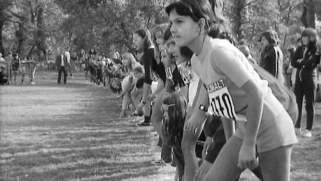 Départ d'un cross-country à Collonge-Bellerive en 1972. [RTS]