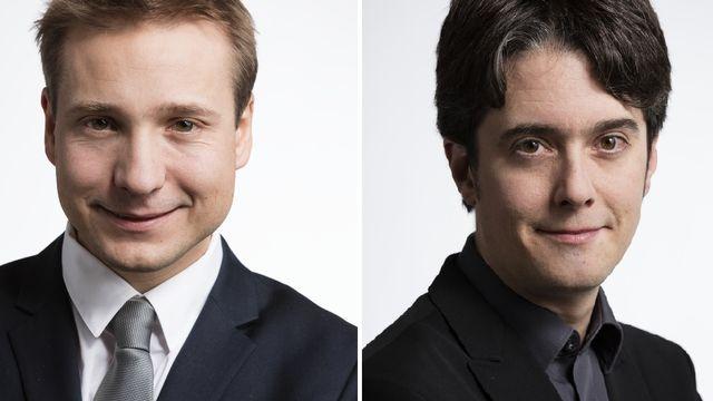 Philippe Nantermod (PLR-VS) et Jean-Christophe Schwaab (PS-VD). [Keystone]