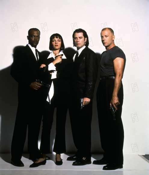 "Samuel L. Jackson, Uma Thurman, John Travolta et Bruce Willis dans ""Pulp Fiction""."