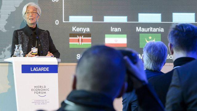 """Christine Lagarde a plaidé à Davos pour une intégration """"rapide"""" des migrants au marché du travail. [Laurent Gilliéron - Keystone]"""