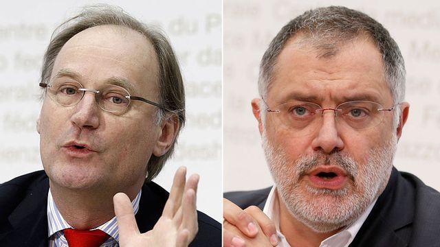 Yves Nidegger et Carlo Sommaruga. [Peter Klaunzer - Keystone]