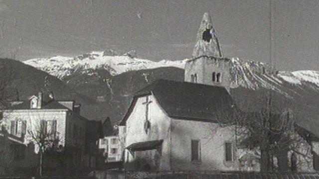 L'église des Marais à Sierre endommagée par le tremblement de terre de 1946 [RTS]