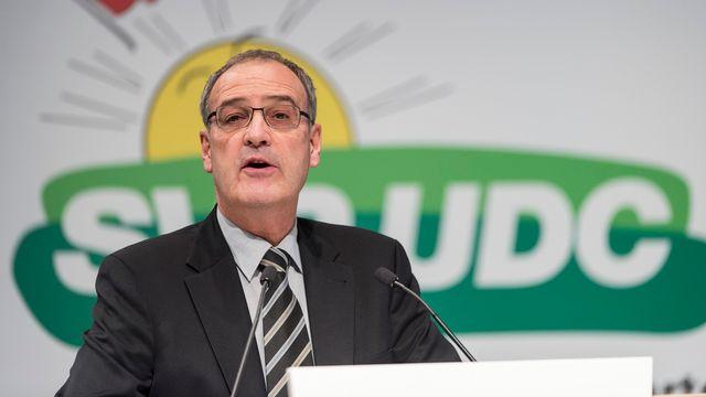Première assemblée des délégués UDC en tant que conseiller fédéral pour Guy Parmelin ce samedi à Wil. [Ennio Leanza - Keystone]