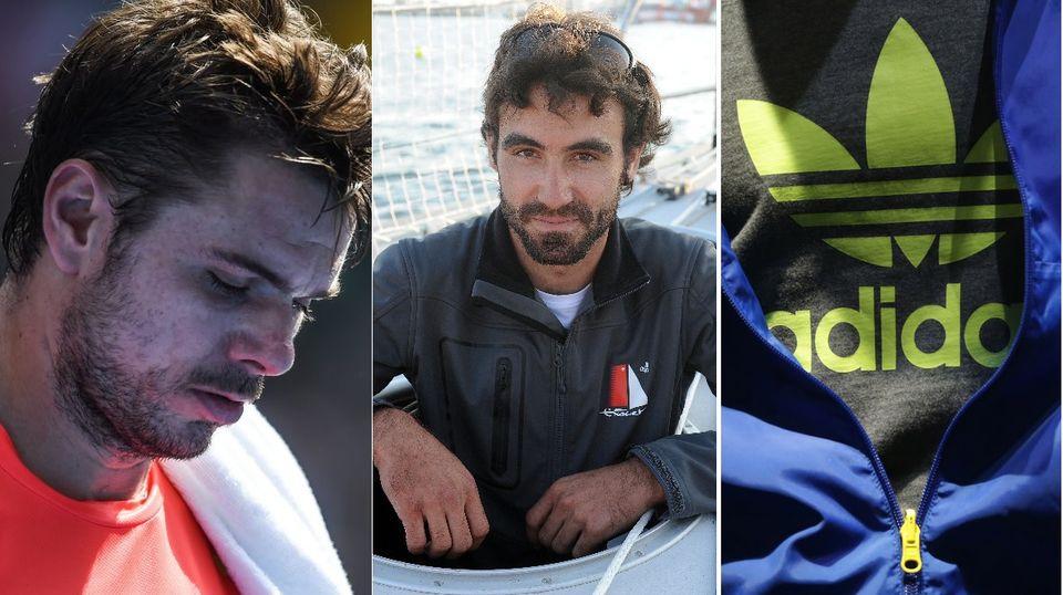 Le top-3 du lundi 25 janvier: Stan Wawrinka, Alan Roura et l'équipementier Adidas. [F.Singer/key - JF Monier/afp - M.Schrader/key - RTS]