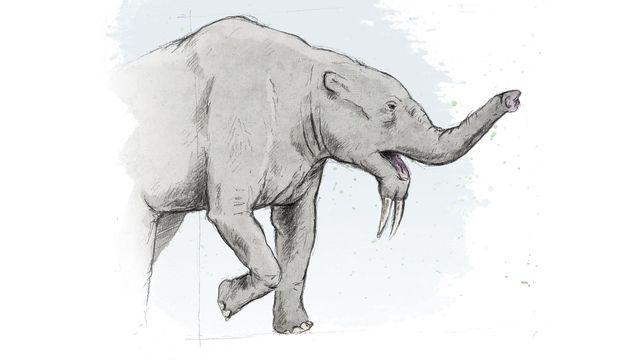 Représentation d'artiste du dinothère, un des plus grands mammifères terrestres connus. ikonaut Jurassica [ikonaut]