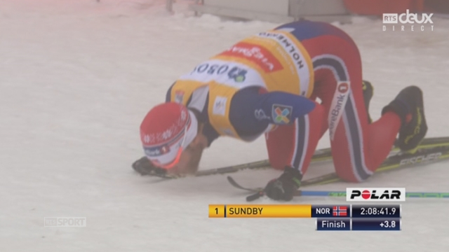 50 km messieurs: devant son public, Martin Sundby (NOR) s'impose devant son compatriote Niklas Dyrhaug et Maxim Vylegzhanin (RUS) [RTS]