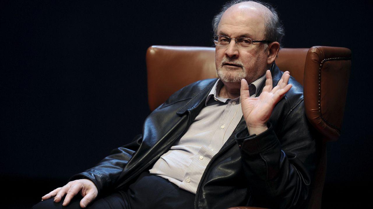 Salman Rushdie en 2015 lors de la présentation de son dernier livre. [Eloy Alonso - Reuters]