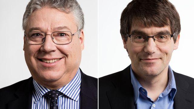 Filippo Lombardi (PDC-TI) et Roger Nordmann (PS-VD). [Gaëtan Bally - Keystone]