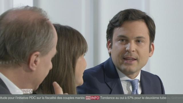 """Guillaume Barrazone: """"Ce n'est peut-être pas l'avis de tous les PDC dans les cantons catholiques mais je soutiendrai le mariage pour tous."""" [RTS]"""