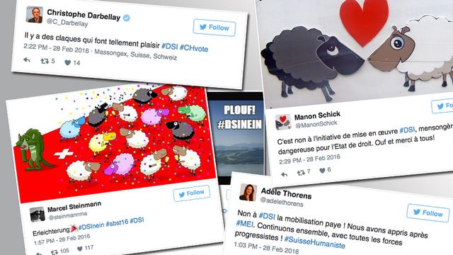 Quelques réactions sur le réseau social Twitter. [RTS]