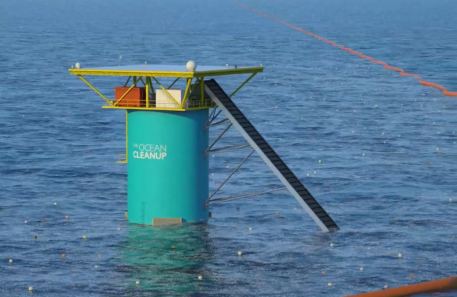 Une installation-test de The Ocean Cleanup.