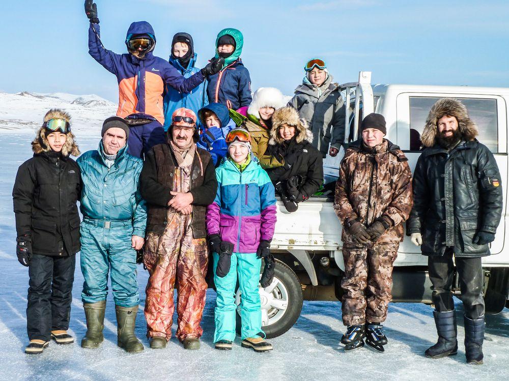 Après la pêche sur le Lac Baïkal.