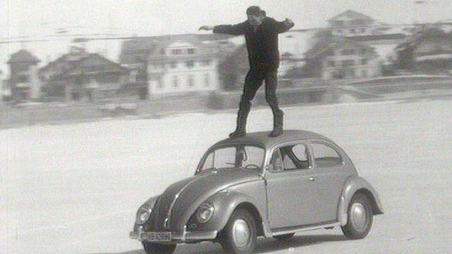 Sur le lac de Joux, hiver 1963. [RTS]