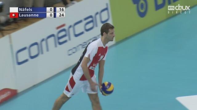 Finale messieurs, Volley Näfels – Lausanne UC (18-25): Lausanne s'adjuge le 1er set [RTS]