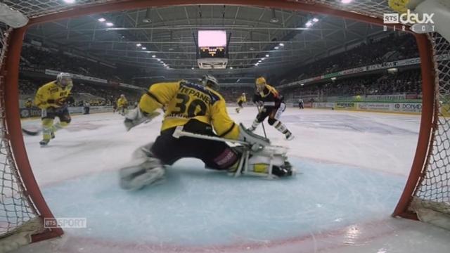 Finale, HC Lugano – CP Berne (1-0): après moins de 6 minutes de jeu, Lugano ouvre la marque [RTS]