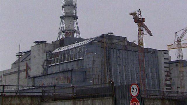 Le sarcophage de béton entourant le réacteur 4 de la centrale nucléaire de Tchernobyl. [RTS]