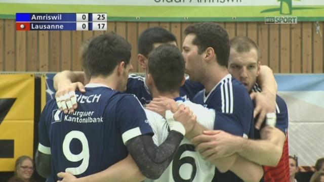 Finale, match 1, Volley Amriswill – Lausanne UC (25-17) : Amriswill remporte le 1er set sur une faute au service du LUC [RTS]