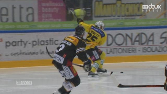 Finale, acte V, HC Lugano - CP Berne (1-1): égalisation pour Berne d'un beau coup de cross d'Andrew Ebbett [RTS]