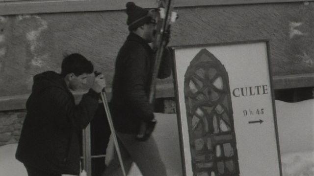 Le culte du dimanche à la Barillette en 1966. [RTS]