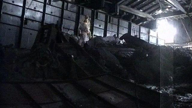 Les déchets de l'explosion du réacteur 4 de la centrale nucléaire de Tchernobyl. [RTS]