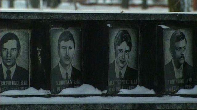 Monument aux employés de la centrale nucléaire de Tchernobyl. [RTS]