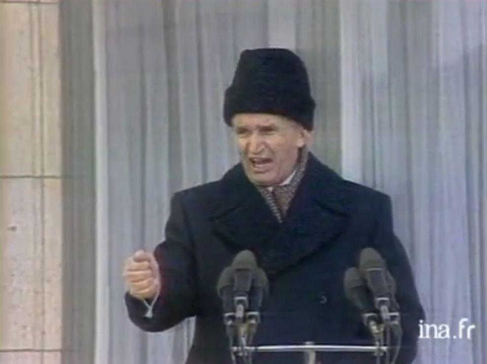 Nicolas CEAUCESCU, 21 décembre 1989. [INA]