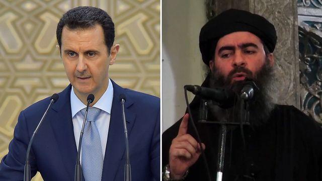 À gauche, Bachar el-Assad, à droite l'autoproclamé calife du groupe État islamique Abou Bakr al-Baghdadi. (photo-montage) [AFP]