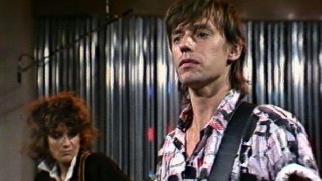 Jean-Louis Aubert et Corine Marienneau du groupe Téléphone, 1984. [RTS]