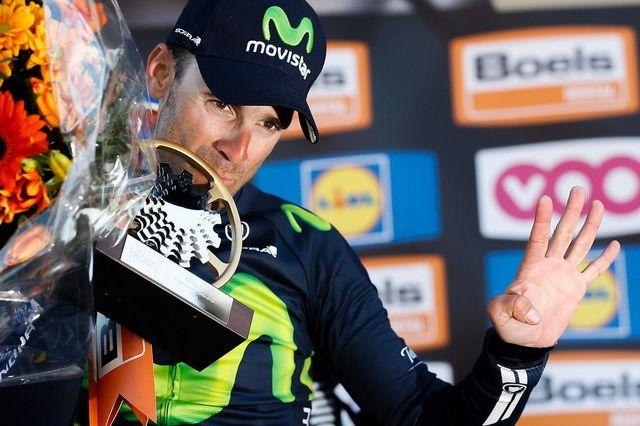 Un record absolu: Alejandro Valverde est devenu ce mercredi le premier coureur à remporter quatre fois la Flèche Wallonne. [L.Dubrule - Keystone]
