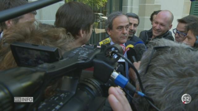 Michel Platini a plaidé sa cause devant le Tribunal Arbitral du Sport à Lausanne (VD) [RTS]