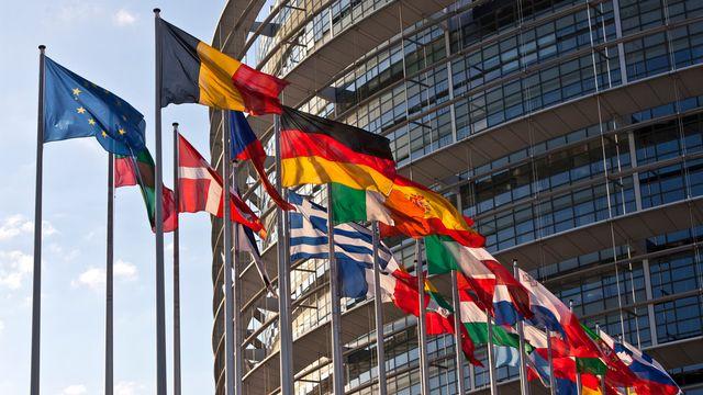 Les drapeaux des pays membres de l'Union européenne flottent devant le Parlement européen à Strasbourg. [Martin Ruetschi - Keystone]