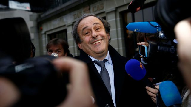 Michel Platini à sa sortie du TAS, lundi 09.05.2016. [Denis Balibouse - Reuters]