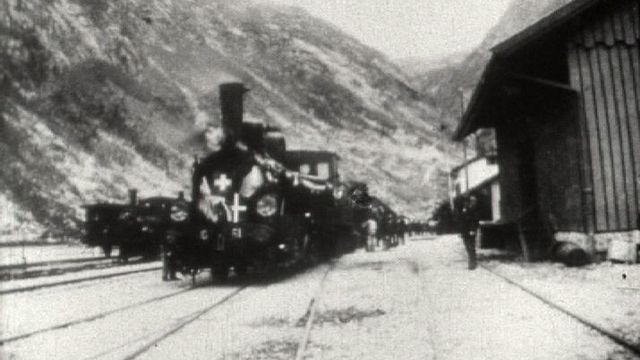 Photo inauguration du premier tunnel ferroviaire du Gothard. [RTS]
