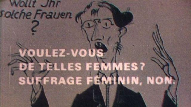 Affiche d'opposants au vote des femmes en Suisse. [RTS]