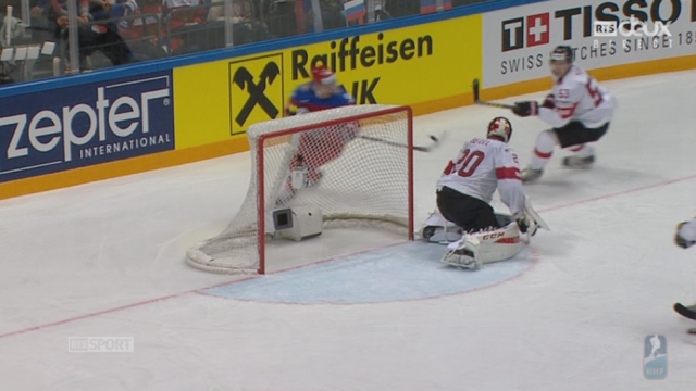 Russie - Suisse (2-0): superbe but de Kuznetsov au dessus de l'épaule de Reto Berra [RTS]