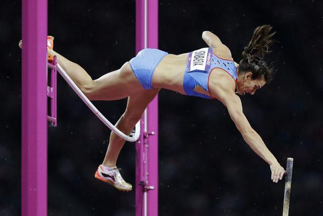 La Russe Elena Isinbayeva, double championne olympique. [Lee Jin-man - Keystone]