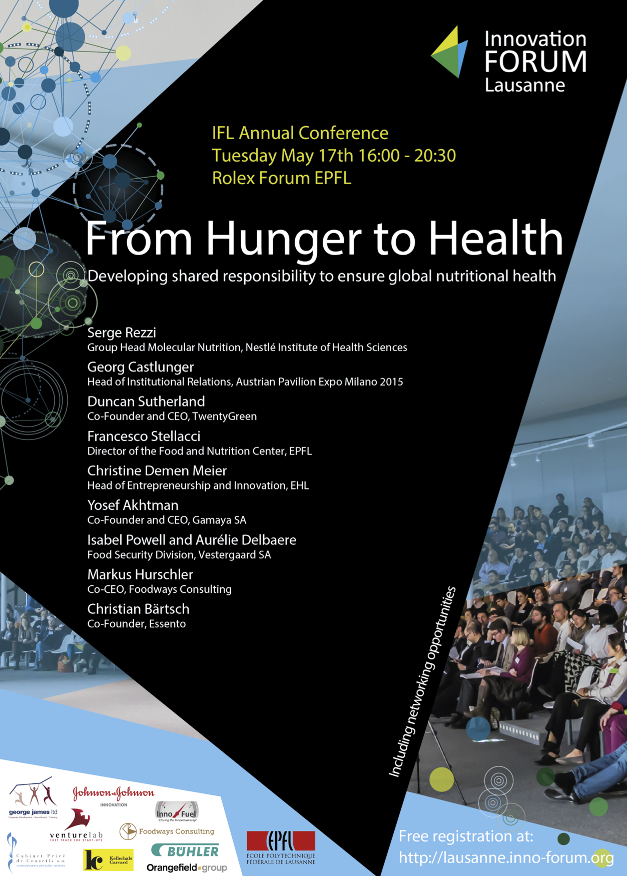 "L'affiche de la conférence ""From Hunger to Health"" qui s'est tenue au Rolex Center de l'EPFL."