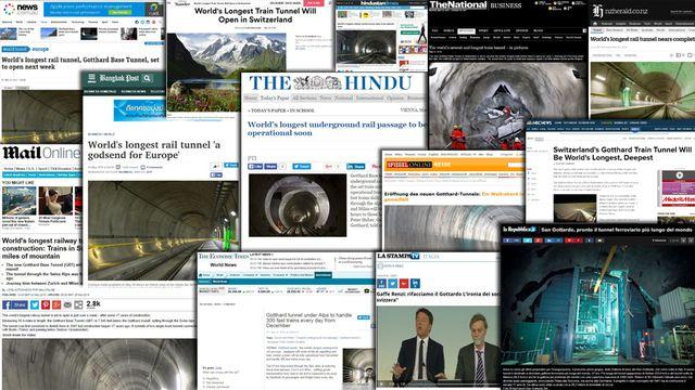 Les titres de la presse internationale pour l'ouverture du Gothard.