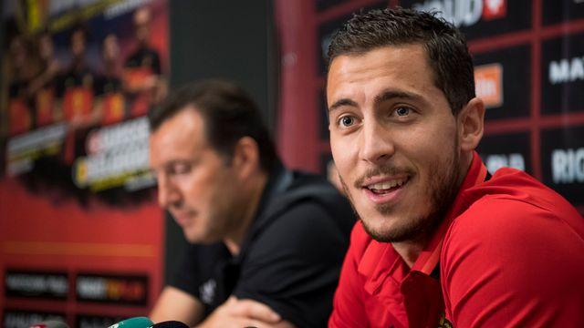 Hazard a fait admirer son sourire plus d'une fois face à la presse. [Jean-Christophe Bott - Keystone]