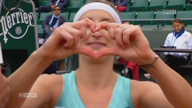 La joie et l'émotion de Timea Bacsinszky après son match [RTS]