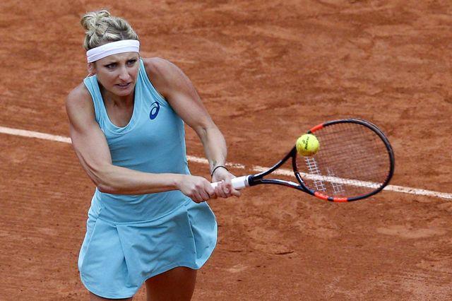 Timea Bacsinszky jeudi à Roland Garros. [Christophe Ena - AP/Keystone]