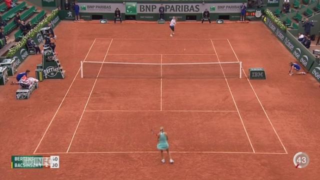 Tennis - Roland Garros: Timea Bacsinszky est éliminée par Kiki Bertens en quart de finale [RTS]