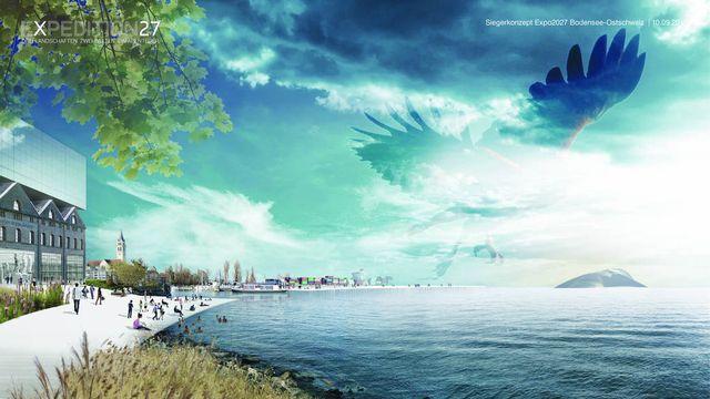 Une image virtuelle du premier concept de l'Exposition nationale de 2027 en Suisse orientale. [Hosoya Schaefer Architects/Plinio Bachmann/Studio Vulkan - Keystone]