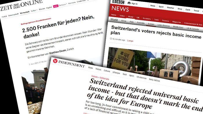 Le vote suisse sur le RBI passé au crible de la presse étrangère.
