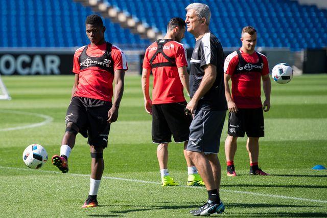 L'équipe suisse de football s'entraîne à Montpellier. [Jean-Christophe Bott - Keystone]