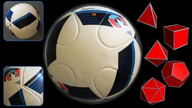 Le ballon de l'Euro 2016, quelques détails de sa structure et les 5 polyèdres réguliers: (de haut en bas) le tétraèdre, le cube, l'octaèdre, le dodécaèdre et l'icosaèdre. [Mathscope - Robert Webb avec Stella software]