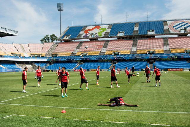 L'équipe de Suisse à l'entrainement à Montpellier. [Jean-Christophe Bott - Keystone]
